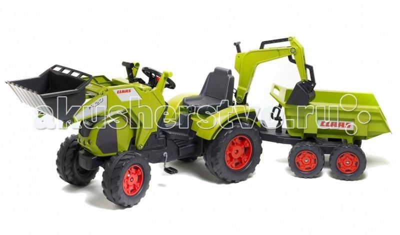 Детский транспорт , Педальные машины Falk Трактор-экскаватор с прицепом 1010W арт: 70612 -  Педальные машины