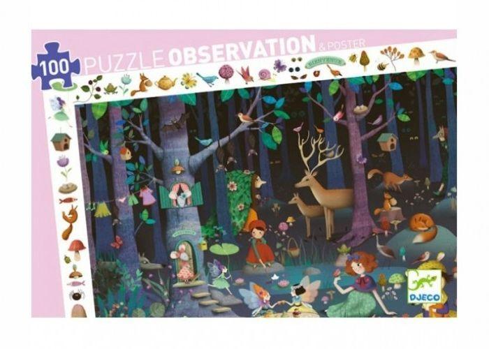 Картинка для Djeco Пазл и игра на наблюдательность Таинственный лес 100 деталей
