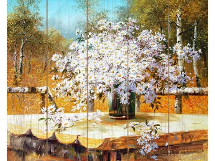 Купить Картины по номерам, Molly Картина по номерам на дереве Сунг ли Букет полевых ромашек 40х50 см