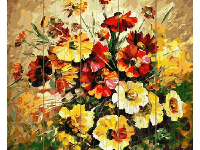 Купить Картины по номерам, Molly Картина по номерам на дереве Афремов Цветочная фантазия 40х50 см