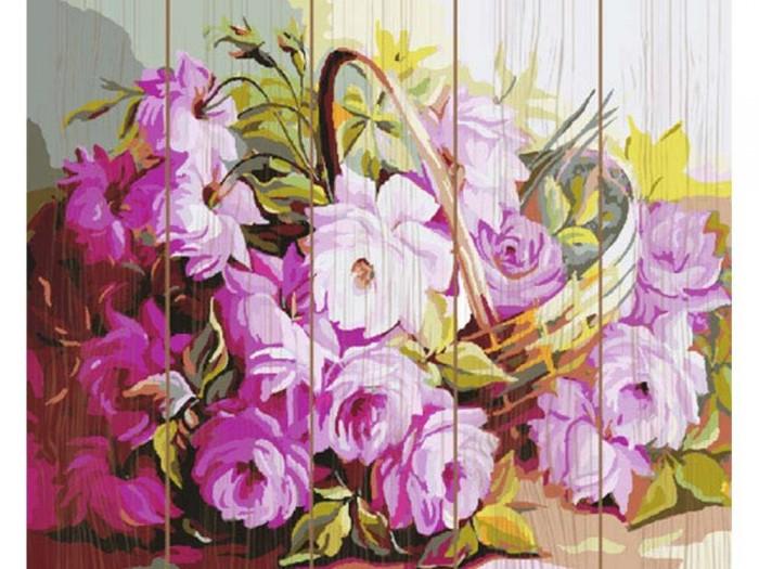 Купить Картины по номерам, Molly Картина по номерам на дереве Корзина с цветами 40х50 см