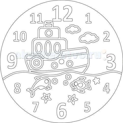 Наборы для творчества Kidsation Песочный трафарет Часы Кораблик