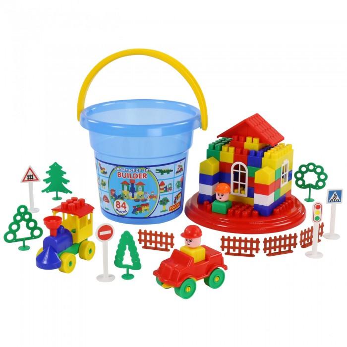 Фото - Конструкторы Полесье Строитель (84 элемента в ведре Макси с крышкой) полесье набор игрушек для песочницы 468 цвет в ассортименте