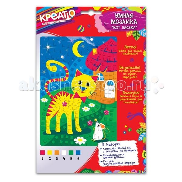 Мозаика Креатто Умная мозаика Кот Васька набор для творчества креатто умная мозаика щенок рэксик 25 17 5см