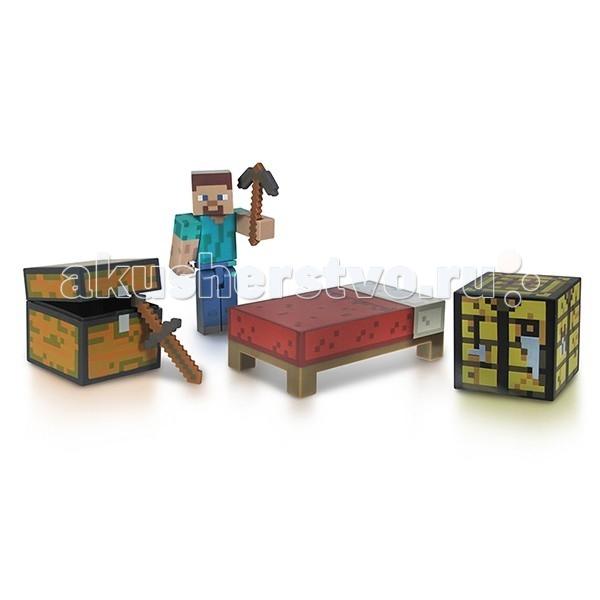 Minecraft Игровой Набор для выживания 6 предметовИгровой Набор для выживания 6 предметовВ этот игровой набор из вселенной Майнкрафт входят самые необходимые для Главного героя вещи, а это - сам главный герой - Стив, а также все что он привык крафтить в самый первый момент: сундук, верстак, кровать, кирка и меч. Орудия Стив может взять в руки, а все конечности у него подвижны. Этот набор превосходно подойдет в качестве подарка ребенку или фанату игры Minecraft, он позволит сделать первый шаг к созданию собственной коллекции. Собери все наборы и построй собственную вселенную Майнкрафт у себя дома!  Комплектация набора: Стив  Рабочее место Кирка  Меч  Кровать  Сундук  Характеристики набора:  Материал: пластик  Размер: 6 см Размер коробки: 16x20 см<br>