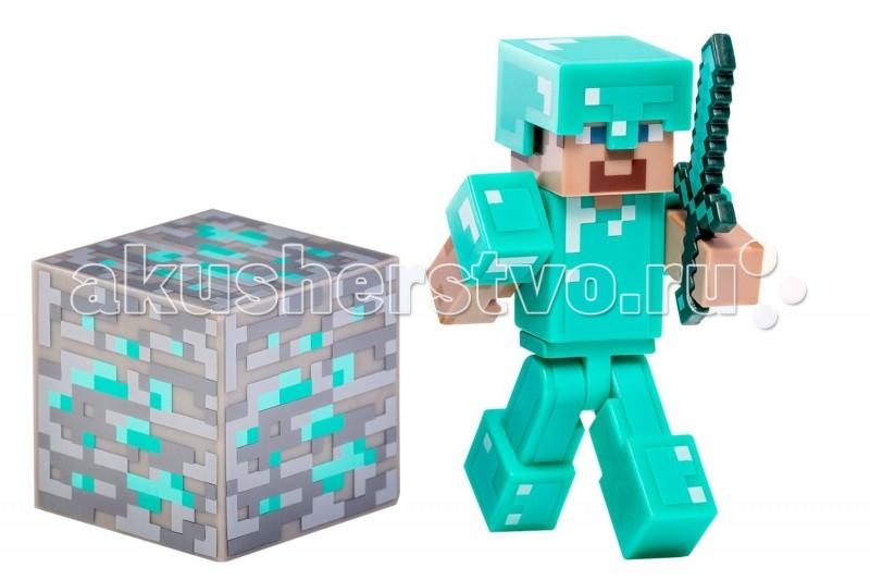 Minecraft Игровой набор Стив в алмазной броне 3 предметаИгровой набор Стив в алмазной броне 3 предметаСтив — это один из видов персонажей мира невероятно популярной игры Minecraft. Фигурка от американской компании Jazwares в точности повторяет вид героя. Голова, руки и ноги Стива подвижны. В руку героя можно вставлять пиксельный меч, который будет надежно держаться в ней даже при быстром движении фигурки. Пластиковый Стив станет оригинальным подарком любому фанату Minecraft, ведь с ней можно продолжить любимую игру в реальном мире!  Комплектация набора:  Стив в алмазной броне Снимаемый шлем Алмазный меч Блок Алмазной руды   Характеристики набора:  Материал: пластик Размер: 7х4х2 см Размер упаковки: 14.5 x 14.6 x 17.8 cм<br>