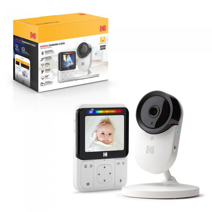 Kodak Видеоняня Cherish C220Видеоняни<br>Kodak Видеоняня Cherish C220 помогает Вам оставаться на связи с Вашим ребенком, пока он спокойно спит.   Аккумуляторы обеспечивают бесперебойную работу дома или в дороге. Большой радиус действия и возможность работы через канал WiFi с помощью приложения Kodak Smart Home позволяют передавать потоковое HD-видео и кристально чистый звук.   С видеоняней Kodak Вы можете разделить все прекрасные моменты жизни Вашего ребенка, не нарушая его сон.   Расширенный диапазон и беспроводная связь  Kodak Cherish C220 позволяет следить за малышом, находясь в другой комнате или по всей стране. Видеоняня с подключенным WiFi обеспечивает передачу HD-видео и звука в любое время дня и ночи.  Наблюдать из любого места  Получите доступ к Вашей камере любым удобным для Вас способом: с помощью родительского блока на расстоянии до 220 метров, или с помощью смартфона при подключении к Wi-Fi.  Портативный родительский модуль и камера  Встроенные аккумуляторы в каждом модуле позволяют брать Kodak Cherish C220 куда угодно. Благодаря четырем часам автономной работы родительского модуля и пятичасовой работе камеры Вы можете легко использовать видеоняню в местах, где нет доступа к розетке и оставаться на связи даже в дороге.  Умные уведомления  Уведомления об обнаружении движения или звука отправляются с Вашей видеокамеры в приложение KODAK Smart Home мгновенно. Вы всегда будете знать, спит или нет Ваш ребенок, несмотря на то, где находитесь: в офисе или дома.  Кристально чистое изображение  Большой 2,8-дюймовый дисплей обеспечивает кристально чистую передачу видео в формате HD. В результате Вы получаете бескомпромиссное качество, которое позволит отследить каждое движение Вашего малыша.  Двусторонняя связь  Дает возможность успокоить ребенка звуком Вашего голоса.  Уведомление об изменении температуры  Помогает Вам и Вашему ребенку чувствовать себя комфортно и безопасно круглый год.  Возможность крепить на стену  Позволяет легко установить детскую камеру в лю