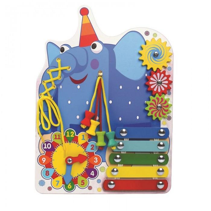 Фото - Деревянные игрушки Деревяшки Бизиборд Слон Ду-ду с часами ду