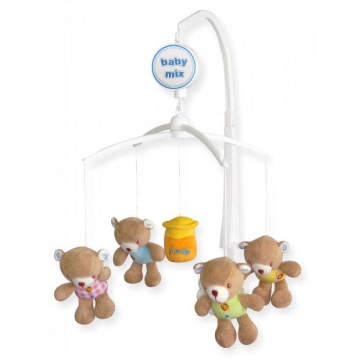 Мобиль Baby Mix Мишки с медомМобили<br>Мобиль Baby Mix Мишки с медом - это яркая музыкальная каруселька на кроватку, с которой малыш никогда не будет скучать.  Симпатичные зверюшки, медленное вращение игрушек, приятная музыка - вот отличительные черты этой игрушки.  Особенности: музыкальное сопровождение карусельки ребенок учится следить за подвесными игрушками у малыша активно и в максимально естественной форме развивается зрение кроха получает представление о пространственном положении предметов музыкальное сопровождение развивает слух ребенка разно-фактурные элементы помогут развить мелкую моторику и сенсорику кронштенйн длина 59 см, ширина 30х30см размер игрушек 12х7 см