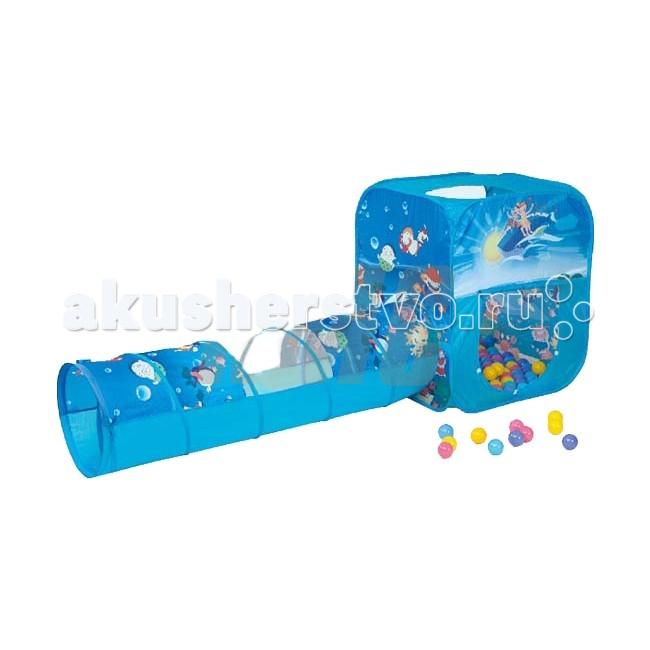 BabyOne Домик игровой с туннелем Океан + 100 шариковДомик игровой с туннелем Океан + 100 шариковКрасочные и интересные игровые домики для детей — это лучшее решение родителей, чтобы ребенок мог активно играть с пользой для здоровья!  Домики очень компактные, легкие и их легко брать с собой, например, на дачу или на природу.  В комплекте 100 разноцветных шариков, играя которыми, малыши развивают ловкость и моторику рук.  Палатка имеет окошки из сетки. Специальная дверка закрепляется на липучках. Достаточно высокий порог не позволит выкатываться шарикам.  Размер: 85х85х100 см.  Размер туннеля: 48х180 см.<br>