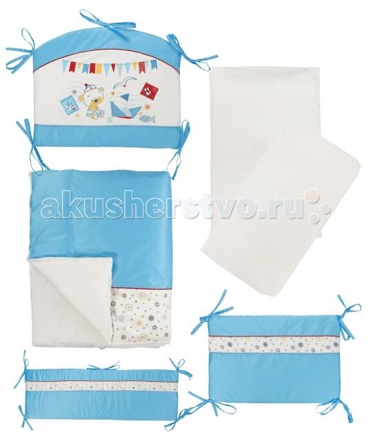 Комплект в кроватку Soni Kids Морской (6 предметов)Морской (6 предметов)Красивый комплект в кроватку из 6 предметов Soni Kids Морской станет отличным подарком для родителей и обеспечит Вашему малышу крепкий и здоровый сон.   Ткань: импортный гладко окрашенный сатин, импортный набивной сатин. Состав: 100% высококачественный хлопок.  Наполнитель: антиаллергенный наполнитель в одеяло, подушку и защитые борта - холлофайбер.  Размеры: Пододеяльник- 140х110 см Простынка на резинке - 150х90 см Наволочка - 60х40 см Одеяло - 140х110 см Подушка - 60х40 см Бортик - 360х44 см (съемные чехлы)<br>