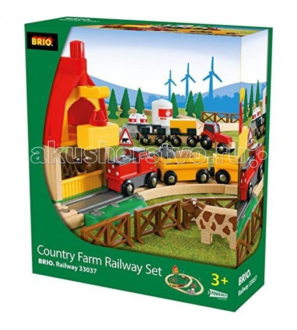 Brio Подарочный набор Железная дорога Загородная Ферма 50 деталейПодарочный набор Железная дорога Загородная Ферма 50 деталейПодарочный набор ж/д Загородная Ферма, 50 деталей, поезд на батарейках Brio.  Создавайте новый игрушечный мир с детской железной дорогой. Комплект состоит из ярких реалистичных деталей высокого качества. В наборе идет большая гора и внушительный погрузочный кран. Отправляйте свои локомотивы по самым разным маршрутам. Кроме того, такая железная дорога безопасна для детских игр, в отличие от настоящей.<br>