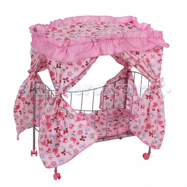 Кроватка для куклы Melobo (Melogo) с балдахином 9350Aс балдахином 9350AКроватка с балдахином для кукол Melobo (9350A) - это отличное место для отдыха любимой куклы.  Особенности:  • Дно кроватки имеет 4 поперечных планки. • Ножки с колесиками, поэтому кровать легко передвигать с места на место. • Колеса пластмассовые. • Обивка легко снимается и легко стирается. • Основа для полога – металлическая рама, на которую натягивается полог с занавесками. • Упакована в полиэтиленовый пакет.  В комплекте: матрас, подушки, одеяло, полог.  Размер: 41.5x35.5x75 см<br>