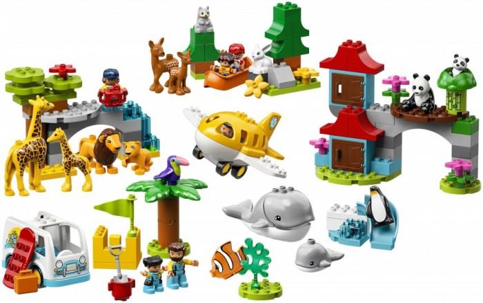 Конструктор Lego Duplo Town Животные мираLego<br>Lego Duplo Town Животные мира  Откройте для ребёнка мир дикой природы и покажите ему новые места. Отправляйтесь на сафари на просторы африканской саванны: представьте себя фотографом, снимающим львов и жирафов, наблюдайте за жизнью милых лесных обитателей, пока плывёте на каноэ по речке, постройте песочный замок на тропическом пляже или понаблюдайте за китами у Южного полюса  Этот набор рассказывает о природе нашей планеты и включает в себя фигурки животных и персонажей, строения, транспортные средства и разные аксессуары  Набор подарит вашему малышу бесконечные возможности для увлекательной игры и вдохновит его на новые открытия.