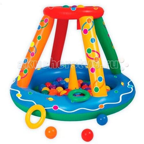Upright Сухой бассейн надувнойСухой бассейн надувнойСухой надувной бассейн с множеством шариков подходит как для игр в помещении, так и для отдыха детей на даче и за городом.  Сама конструкция надувная, так что любые повреждения и травмы об её углы исключены. Можете смело позволить ребёнку резвиться вдоволь не переживая за его безопасность. Размер: 135 х 107 х 23h см  Состав набора: надувная площадка, 50 пластиковых шариков разного цвета.<br>