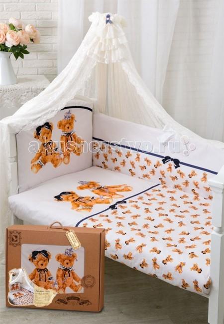 Комплект в кроватку Золотой Гусь Королевские мишки (7 предметов)Королевские мишки (7 предметов)Новая эксклюзивная коллекция комплектов в кроватку с изысканными и оригинальными рисунками в Винтажном стиле, выполненные методом цифровой печати. Сатин, из которого сшиты эти комплекты, обладает многими замечательными качествами. Он мягкий, шелковистый и прочный, а благородный блеск ткани придаёт выразительность и очарование новым дизайнам. Комплекты упакованы в фирменную коробку.  Состав комплекта (7 предметов): Бампер (4 части) на завязках на весь периметр кровати 360х40, чехлы съемные на молнии  Балдахин (вуаль) 160х450 см Одеяло 108х140 см Подушка 40х60 см Пододеяльник 110х145 см на молнии Наволочка 40х60 Простынь 110х150 на резинке  Материал 100% хлопок, сатин Наполнитель - холофан  Рекомендован для кроватки размером 120 х 60 см .<br>