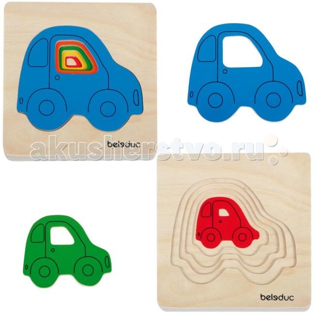 Деревянная игрушка Beleduc Развивающий Пазл Машинки 10142Развивающий Пазл Машинки 10142Развивающий Пазл Машинки Beleduc 10142  Развивающая игра деревянная для малышей.   Пазл состоит из 5 разноцветных машинок, отличающихся по размеру.   У каждой машинки есть свое место в рамке. Задача ребенка — сложить машинки по возрастанию.   Игра способствует развитию логического мышления, произвольного внимания, учит различать предметы по цвету и размеру; развивает мелкую моторику рук.  Проговаривая последовательность сборки пазла от малого к большому, ребенок через игру получает полное представление о цвете, форме, размере, объёме и фактуре. Собирание пазлов тренирует пространственное мышление, умение выстраивать логические цепочки, что немаловажно в школьном и взрослом возрасте.  Пазлы Beleduc, изготовленные из русской березы, всегда особенные, они объединяют не только гениальные идеи с эксклюзивными иллюстрациями, но и креативность и качество. Все пазлы рассчитаны на разные возрастные категории, уровни сложности. Но все они очень красочные, увлекательные и главное познавательные.<br>