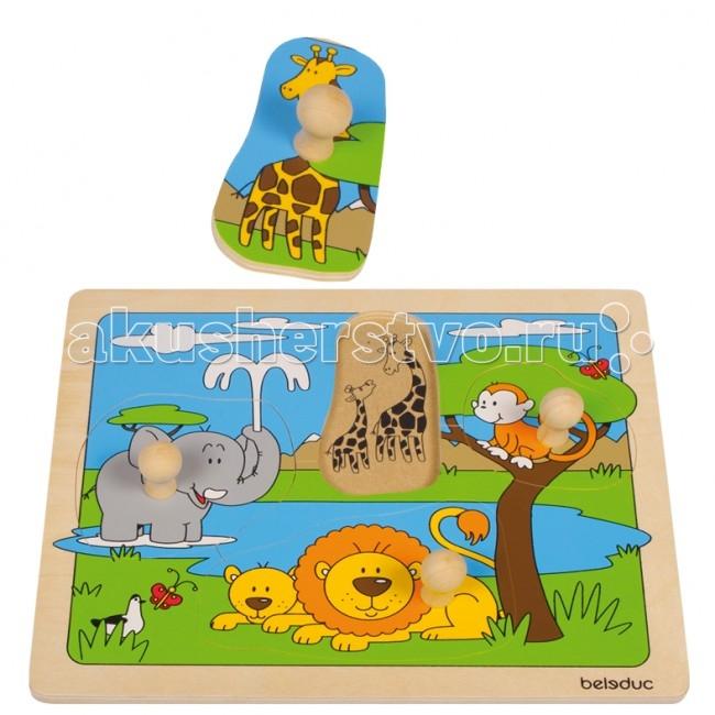 Деревянная игрушка Beleduc Развивающий Пазл Африка 10147Развивающий Пазл Африка 10147Развивающий Пазл Африка Beleduc 10147  С помощью этого красочного пазла дети узнают, какие животные живут в Африке.   Пазл состоит из 4 частей. К каждой части прикреплена специальная «кнопка», чтобы малышам было удобно брать детали.   Игра способствует развитию логического мышления, произвольного внимания, учит различать предметы по цвету, форме и размеру; развивает мелкую моторику рук.  Пазлы Beleduc, изготовленные из русской березы, всегда особенные, они объединяют не только гениальные идеи с эксклюзивными иллюстрациями, но и креативность и качество. Все пазлы рассчитаны на разные возрастные категории, уровни сложности. Но все они очень красочные, увлекательные и главное познавательные.<br>