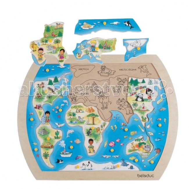 Деревянные игрушки Beleduc Развивающий Пазл Один большой мир 10151 деревянные игрушки beleduc развивающая винтики друзья
