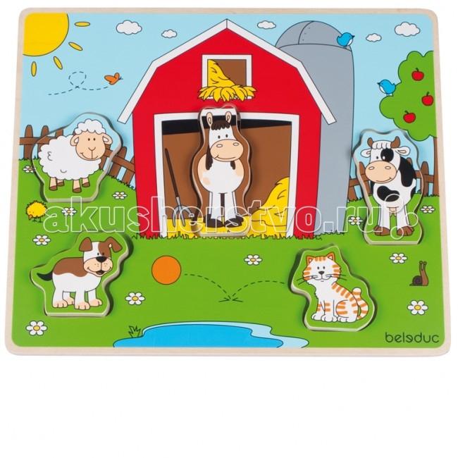 Деревянные игрушки Beleduc Развивающий Пазл Веселые друзья на ферме 11005 деревянные игрушки beleduc развивающий пазл клубника 17040