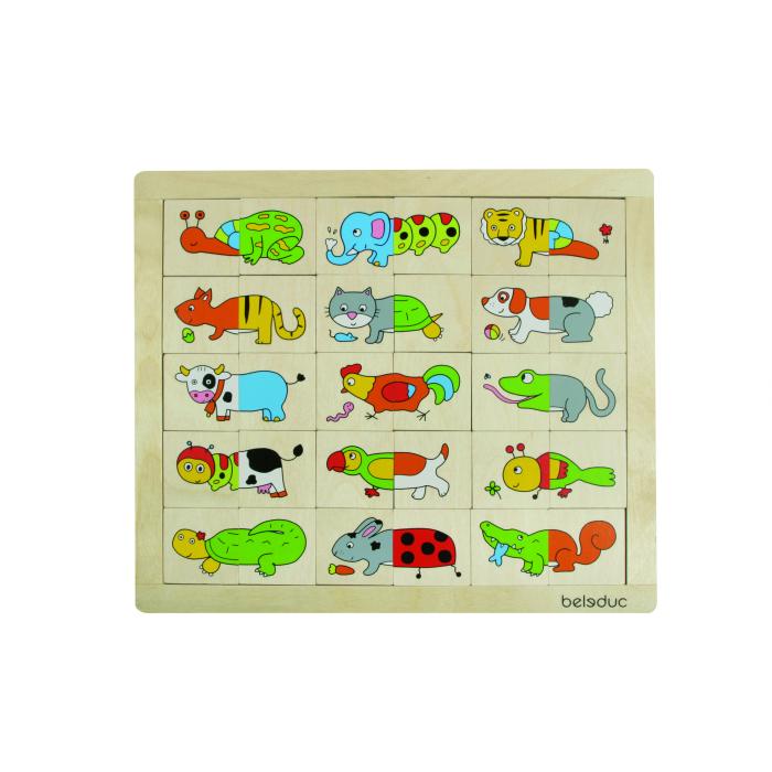 Деревянная игрушка Beleduc Развивающий Пазл Животные 11006Развивающий Пазл Животные 11006Развивающий Пазл Животные Beleduc 11006  В наборе Beleduc 30 разноцветных деталей с изображениями животных. Каждая картинка состоит из 2 частей.   Задача ребенка - правильно составить все картинки и разместить их в рамке.   Игра способствует развитию визуального восприятия, наблюдательности, учит различать цвета и формы.   Можно придумывать собственных животных, например: кот+пес = котопес   Пазлы Beleduc, изготовленные из русской березы, всегда особенные, они объединяют не только гениальные идеи с эксклюзивными иллюстрациями, но и креативность и качество. Все пазлы рассчитаны на разные возрастные категории, уровни сложности. Но все они очень красочные, увлекательные и главное познавательные.<br>