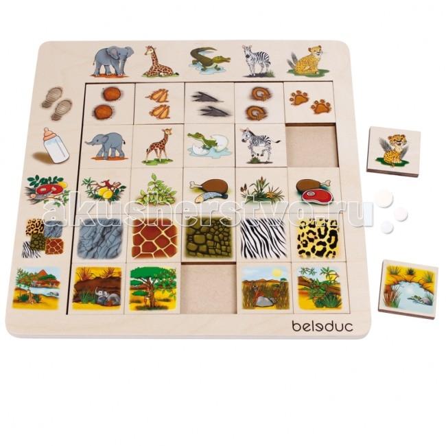 Деревянные игрушки Beleduc Развивающий Пазл Саванна 11060 деревянные игрушки beleduc развивающий пазл клубника 17040