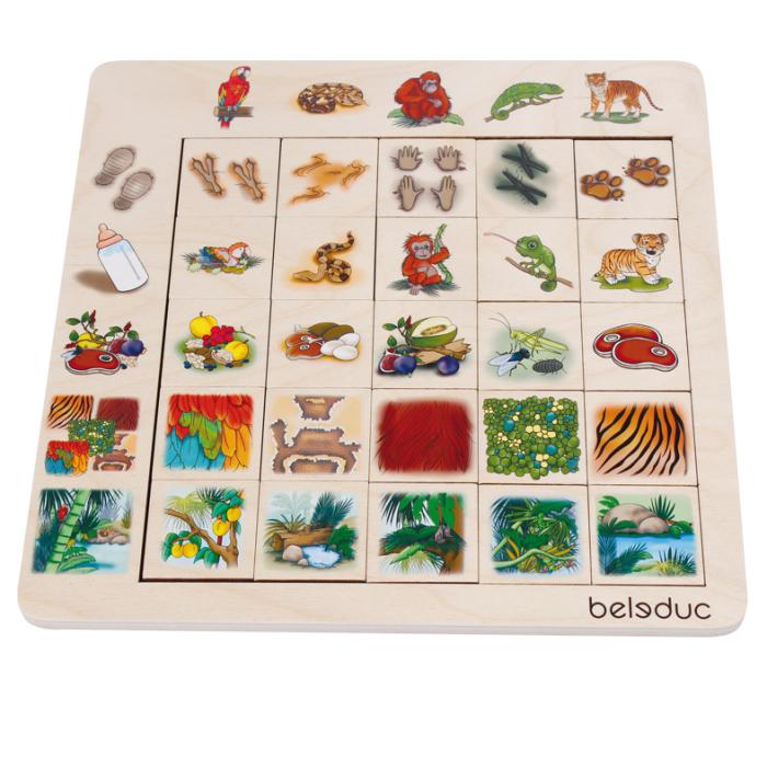 Деревянные игрушки Beleduc Развивающий Пазл Джунгли 11070 деревянные игрушки beleduc развивающий пазл клубника 17040