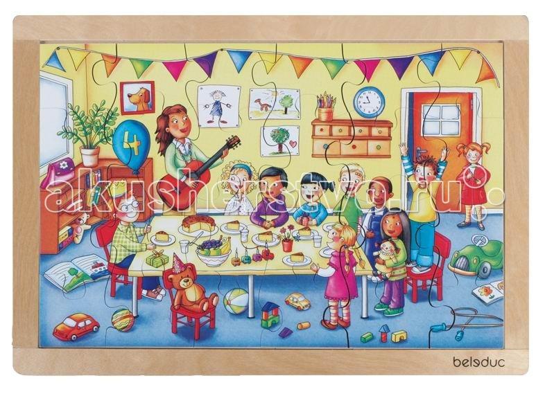 Деревянная игрушка Beleduc Развивающий Пазл День рождения 12003Развивающий Пазл День рождения 12003Развивающий Пазл День рождения Beleduc 12003  Красочный пазл в деревянной рамке с хорошо знакомыми ситуациями из повседневной жизни детей.   Пазл развивает мышление, логику, моторику, цвета, воображение, когнитивные и коммуникативные навыки.  Пазлы Beleduc, изготовленные из русской березы, всегда особенные, они объединяют не только гениальные идеи с эксклюзивными иллюстрациями, но и креативность и качество. Все пазлы рассчитаны на разные возрастные категории, уровни сложности. Но все они очень красочные, увлекательные и главное познавательные.<br>