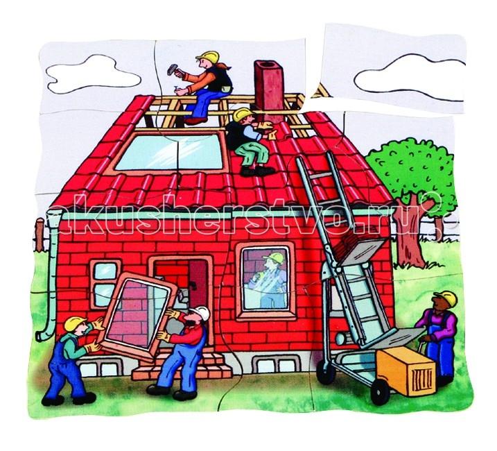 Деревянные игрушки Beleduc Развивающий Пазл Строим дом 17036 деревянные игрушки beleduc развивающий пазл клубника 17040