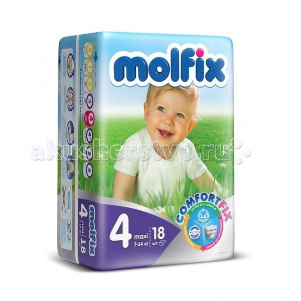 Подгузники Molfix Подгузники Макси 4 (7-14 кг) 18 шт. подгузники molfix подгузники макси плюс 4 9 20 кг 54 шт