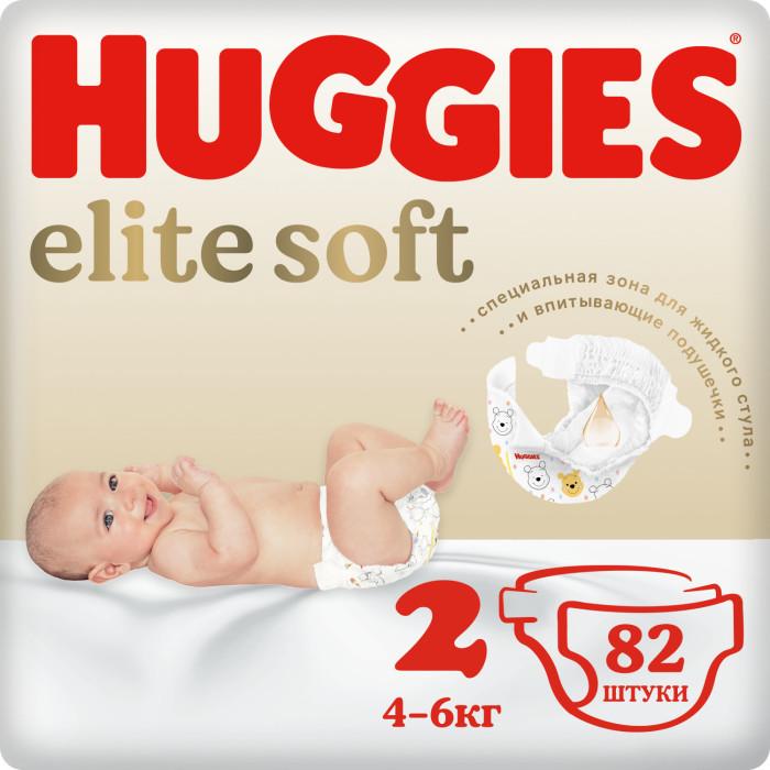 Huggies Подгузники Элит Софт 2 (3-6 кг) 82 шт.