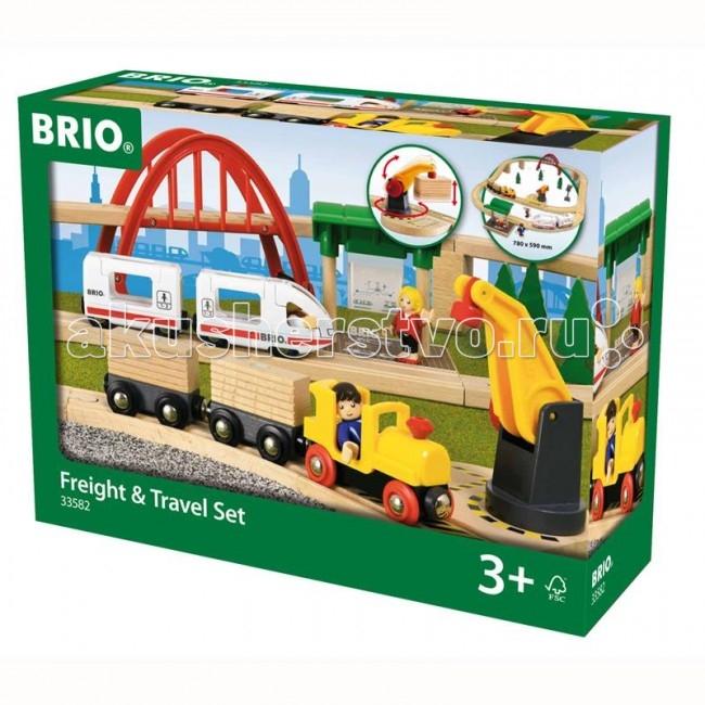 Brio Подарочный набор Железная дорога Городская и грузоваяПодарочный набор Железная дорога Городская и грузоваяПодарочный набор железной дороги Brio Городская и грузовая Brio.  Игрушка детская железная дорога всегда радует детей и родителей. А для коллекционеров модели железных дорог не просто игрушки, а уникальные экспонаты для коллекции. Также если вы не знаете, что подарить ребёнку на день рождения, то всегда можете ему подарить модель железной дороги. Железную дорогу можно подарить и взрослому человеку и она станет как-бы отдушиной, обратит время вспять и взрослый дядька станет управлять поездом, радуясь как ребёнок.  Детская железная дорога соберет вечером вместе всю семью: так приятно проводить время среди близких и любимых, тем более за такой интересной игрой. Мини версия городского ландшафта. Станция с пассажирским поездом из 2-х вагонов, который приводится в движение руками, 3 фигурки человечков, железнодорожный мост, товарный поезд с 2-мя вагонами с грузом и подъемный кран на магнитах с ручным механизмом поднятия-опускания грузов.<br>