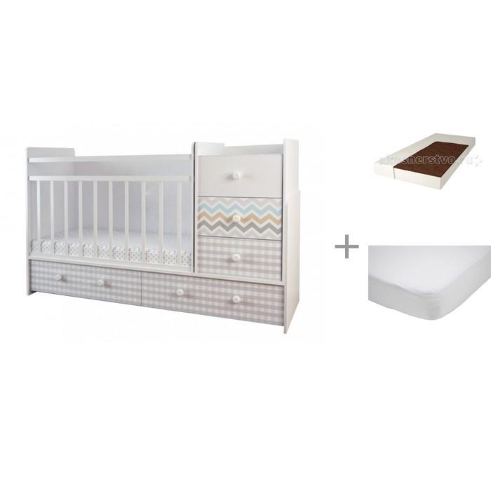 Кроватки-трансформеры Forest Little Bear (маятник поперечный) с матрасом Малыш 2 и наматрасником Caress (махра)