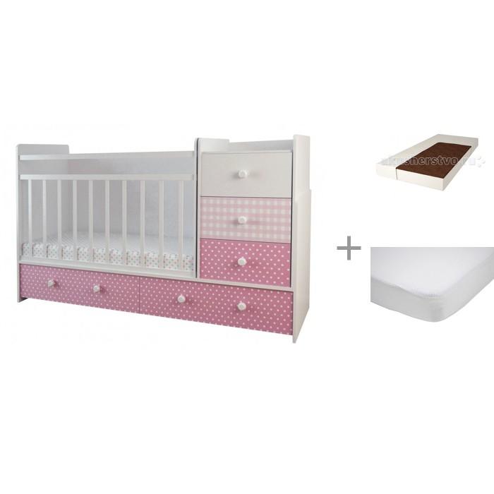 Кроватки-трансформеры Forest Little Princess (маятник поперечный) с матрасом Малыш 2 и наматрасником Caress (махра)