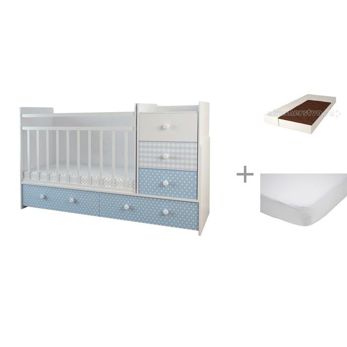 Кроватки-трансформеры Forest Little Prince (маятник поперечный) с матрасом Малыш 2 и наматрасником Caress (махра)