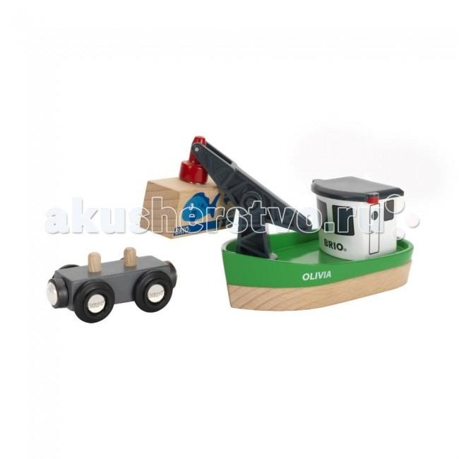 Железные дороги Brio Корабль с краном-погрузчиком на магните и вагончиком