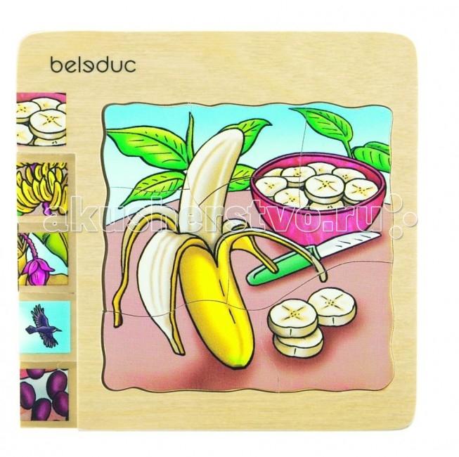 Деревянная игрушка Beleduc Развивающий Пазл Банан 17049Развивающий Пазл Банан 17049Развивающий Пазл Банан Beleduc 17049  С помощью этих пазлов дети узнают как растет банан.   Каждый пазл в этой серии – целая история.   Задача ребенка – собрать не только части каждого пазла, но и сложить слоями все пазлы в правильной последовательности. Игра развивает логическое мышление, внимание, память, воображение; учит правильно воспринимать связь между частью и целым; развивает мелкую моторику рук.  Пазлы Beleduc, изготовленные из русской березы, всегда особенные, они объединяют не только гениальные идеи с эксклюзивными иллюстрациями, но и креативность и качество. Все пазлы рассчитаны на разные возрастные категории, уровни сложности. Но все они очень красочные, увлекательные и главное познавательные.<br>