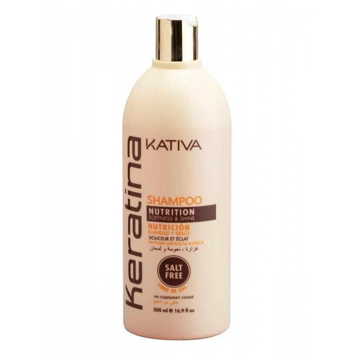 Косметика для мамы Kativa Keratina Укрепляющий шампунь с кератином для всех типов волос 500 мл бальзам кондиционер для волос kativa keratina 500 мл укрепляющий с кератином