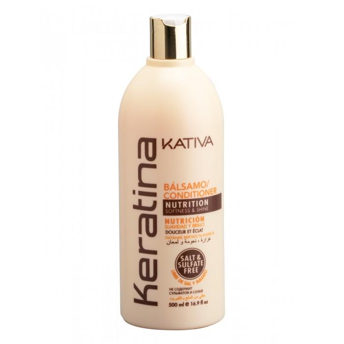 Косметика для мамы Kativa Keratina Укрепляющий бальзам-кондиционер с кератином для всех типов волос 500 мл бальзам кондиционер для волос kativa keratina 500 мл укрепляющий с кератином