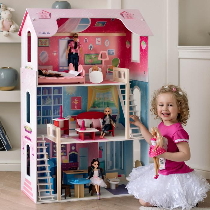 Paremo Кукольный домик Вдохновение для БарбиКукольный домик Вдохновение для БарбиКукольный домик Paremo Вдохновение для Барби - домик, выполненный в классическом для девичьей игрушки розовом цвете. Игрушку отличает яркий принт по дереву и использование премиального материала флок. Модификация: трехэтажный, четырехкомнатный, с 2-мя лестницами. Сделано в России!  Особенности: Домик предназначен для девочек старше трехлетнего возраста Игрушка 100% деревянная, ни одного пластикового или картонного элемента в каркасе и мебели Игрушечный дом для кукол Вдохновение частично открытый (задняя стенка глухая, все игровые зоны с лицевой стороны полностью доступны для игры) Разработан специально для кукол высотой до 30 см (прекрасно подходит для Barbie, Winx, Moxie, Bratz, Sonya Rose и т.д.) Размеры домика Вдохновение в собранном виде (ДхГхВ): 82 х 33 х 120 см. Вес игрушки: 14.2 кг. В комплекте: 16 предметов мебели. ВНИМАНИЕ: Куклы, игрушечные питомцы и текстиль приобретается отдельно! В данной модификации дома – 2 лестницы, полностью деревянные с использованием премиального материала флока в качестве внешнего покрытия. Для декорирования интерьеров используется инновационная технология нанесения рисунка на дерево, которую технологи PAREMO внедрили в производство данной категории игрушек первыми в России.  Упаковка: транспортная картонная коробка<br>