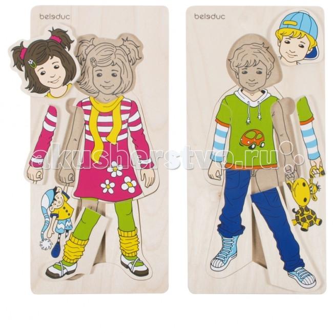 Деревянные игрушки Beleduc Развивающий Пазл Аника и Денис 17058 деревянные игрушки beleduc развивающий пазл клубника 17040