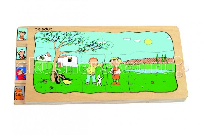 Деревянные игрушки Beleduc Развивающий Пазл Четыре сезона 17144 деревянные игрушки beleduc развивающий пазл веселые друзья на ферме 11005