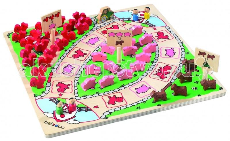 Beleduc Развивающая игра Веселая ферма 22302Развивающая игра Веселая ферма 22302Развивающая игра Веселая ферма 22302 Beleduc  Немного удачи в бросании кубика, хорошая наблюдательность и умение считать поможет маленьким фермерам победить.   Игрок, которому быстрее всех удастся обменять собранных животных, получает трактор.   Включает 50 деталей из дерева: 1 игровое поле, 4 игровых фигурки, 20 петухов, 15 свиней, 5 коров, 1 фигурка трактора, 3 знака , 1 кубик.   Все детали выполнены из высококачественных материалов, совершенно безопасных для маленьких детей.  Игры Beleduc идеально подходят для начального развития детей, задолго до того, как они идут в школу, но и просто для интересного времяпрепровождения. Игры Beleduc идеально подходят для совместной игры родителей и детей. Некоторые игры очень понравятся взрослым, которые с удовольствием втянутся в процесс игры.<br>