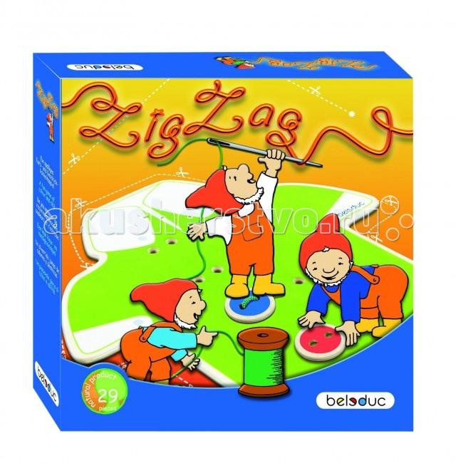 Beleduc Развивающая игра Зиг Заг 22315Развивающая игра Зиг Заг 22315Развивающая игра Зиг Заг 22315 Beleduc  С помощью игрушечной иголки и нитки детки пришивают пуговицы к рубашке как настоящие портные. Игроки раскручивают по очереди диск с ножницами, пришивают пуговицы нужного цвета и получают жетоны. Победит тот, кто наберет больше жетонов.   Малышам можно играть и вовсе без правил, т.е. просто пришивать пуговицы на рубашку. Игра развивает моторику, внимание, учит распознавать цвета.  Включает 29 деталей: 1 деревянная рубашка (210х200 мм), 16 деревянных пуговиц, 1 деревянная игла с текстильным шнурком, деревянное поле, 10 фишек победителей.   Все детали выполнены из высококачественных материалов, совершенно безопасных для маленьких детей.  Игры Beleduc идеально подходят для начального развития детей, задолго до того, как они идут в школу, но и просто для интересного времяпрепровождения. Игры Beleduc идеально подходят для совместной игры родителей и детей. Некоторые игры очень понравятся взрослым, которые с удовольствием втянутся в процесс игры.<br>