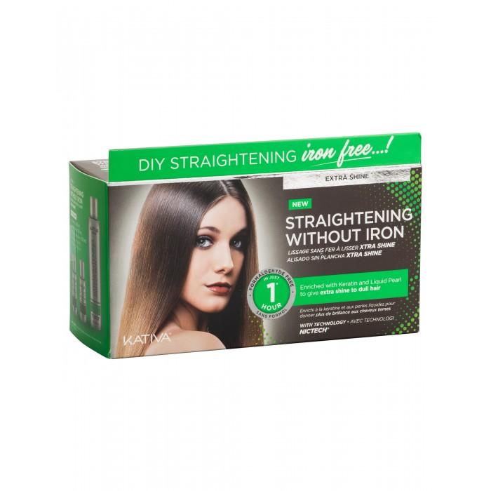 Kativa Iron Free Набор для выпрямления волос Экстра-блеск для тусклых волос с жемчугом и кератином от Kativa