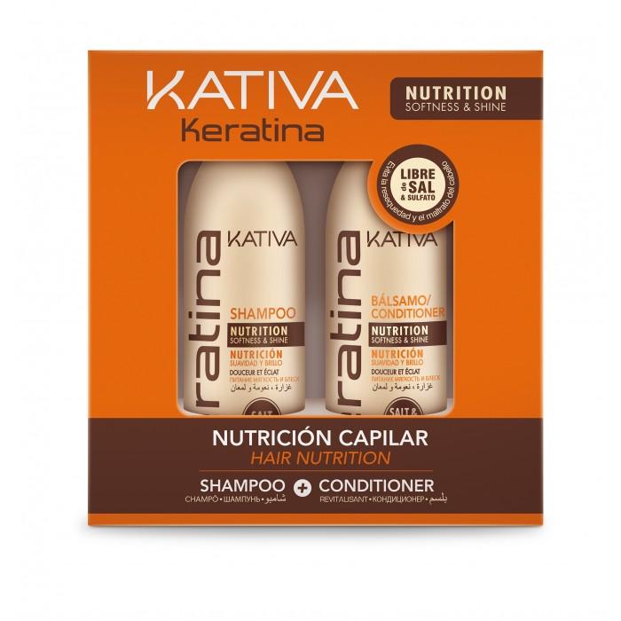 Косметика для мамы Kativa Набор для волос укрепляющий Keratina 2x100 мл бальзам кондиционер для волос kativa keratina 500 мл укрепляющий с кератином