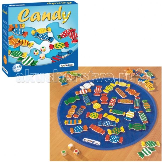 Beleduc Развивающая игра Конфеты 22408Развивающая игра Конфеты 22408Развивающая игра Конфеты 22408 Beleduc  Развивающая игра деревянная для малышей. В процессе игры ребенок изучает цвета, развивает наблюдательность. Для игры используются 3 кубика с цветными символами.   В зависимости от выпавшей цветовой комбинации игроки выбирают конфеты с соответствующей расцветкой. Существует 3 варианта ведения игры.  Включает 45 деталей: 41 фигура в форме конфеты(70х25мм), 1 игровое поле(450мм) из текстиля, 3 кубика.   Все детали выполнены из высококачественных материалов, совершенно безопасных для маленьких детей.  Игры Beleduc идеально подходят для начального развития детей, задолго до того, как они идут в школу, но и просто для интересного времяпрепровождения. Игры Beleduc идеально подходят для совместной игры родителей и детей. Некоторые игры очень понравятся взрослым, которые с удовольствием втянутся в процесс игры.<br>