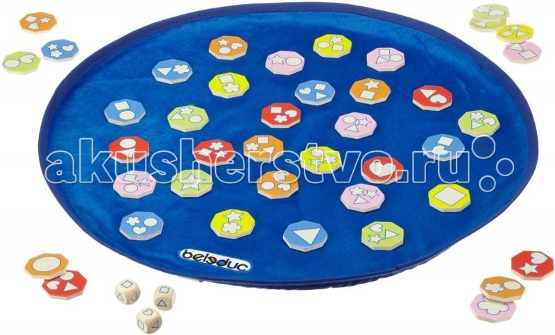 Beleduc Развивающая игра Шейпи 22414Развивающая игра Шейпи 22414Развивающая игра Шейпи 22414 Beleduc  Развивающая игра деревянная для малышей. Игра направлена на развитие зрительного восприятия и концентрацию внимания. Игроки одновременно кидают кубики и все вместе ищут карточки с выпавшими на кубиках фигурами.   Разные варианты ведения игры делают ее очень занимательной даже для взрослых игроков.   Включает 45 деталей: 41 цветная фишка из дерева (35 мм), 3 кубика, 1 игровое поле (450 мм) из текстиля.  Все детали выполнены из высококачественных материалов, совершенно безопасных для маленьких детей.  Игры Beleduc идеально подходят для начального развития детей, задолго до того, как они идут в школу, но и просто для интересного времяпрепровождения. Игры Beleduc идеально подходят для совместной игры родителей и детей. Некоторые игры очень понравятся взрослым, которые с удовольствием втянутся в процесс игры.<br>