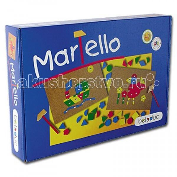 Beleduc Развивающая игра Мартелло 22383Развивающая игра Мартелло 22383Развивающая игра Мартелло 22383 Beleduc  Игра Мартелло развивает ловкость и воображение. Ребенок самостоятельно может сложить разноцветные фигуры в яркие цветные картинки. Используя деревянный молоточек и гвоздики, малыш закрепит детали на пробковой доске.  Включает 2 дощечки, 2 молоточка, 100 гвоздиков, 73 детали, схемы с примерами.  Все детали выполнены из высококачественных материалов, совершенно безопасных для маленьких детей.  Игры Beleduc идеально подходят для начального развития детей, задолго до того, как они идут в школу, но и просто для интересного времяпрепровождения. Игры Beleduc идеально подходят для совместной игры родителей и детей. Некоторые игры очень понравятся взрослым, которые с удовольствием втянутся в процесс игры.<br>