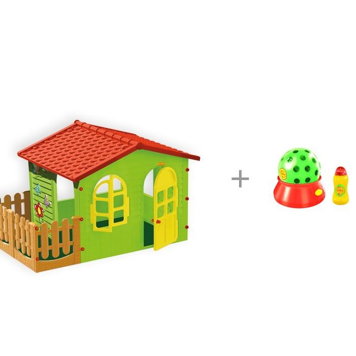 Картинка для Игровые домики Mochtoys Игровой домик с забором с установкой HTI с автоматическим пусканием мыльных пузырей Диско-шар